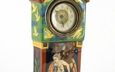 Shelley Foley Intarsio clock case, Time and Tide Wait