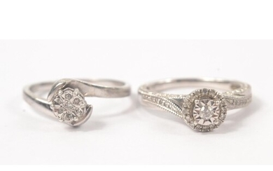 Silver 925 stamped CZ dress ring size Q weight 2.58g and a 9...