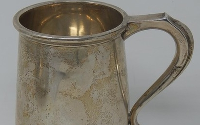 Silver Pint Tankard with C Scroll Handle on Conical Base, Ha...