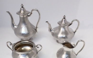 Solid silver coffee tea set 4 pieces - .800 silver - Austria Hungary import the Netherlands - 19th century