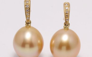 South Sea pearl earrings in14k gold with diamonds 0.08ct