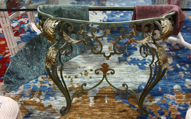 Spanish Revival marble top console table