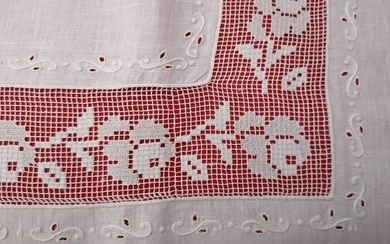 Spectacular!! Pure linen sheet with very fine Filet embroidery completely by hand - Linen