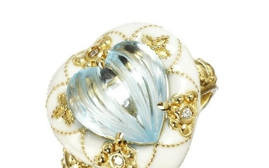 Stambolian Blue Topaz and Diamond Heart Ring with White