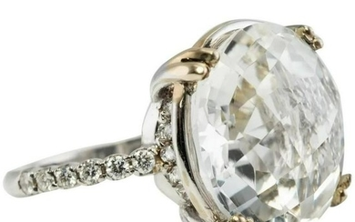Suzanne Kalan Vitrine Clear 15mm Quartz Diamond Ring