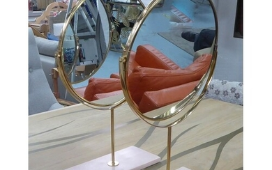 TABLE TOP VANITY MIRRORS, a pair, marble bases, 49cm tall. (...