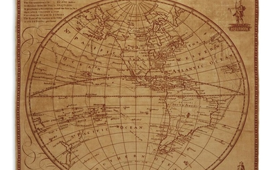 (TEXTILE MAP.) Western Hemisphere, or the New World.