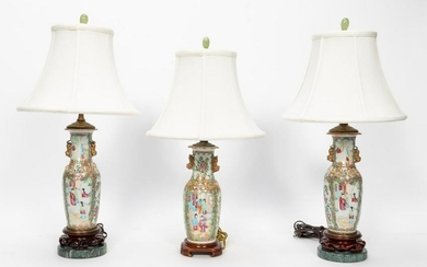 THREE, ROSE MEDALLION VASES MOUNTED AS LAMPS
