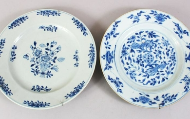 TWO 18TH CENTURY CHINESE BLUE & WHITE PORCELAIN PLATES,