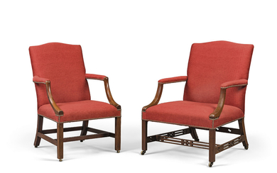 TWO GEORGE III MAHOGANY LIBRARY ARMCHAIRS, THIRD QUARTER 18TH CENTURY