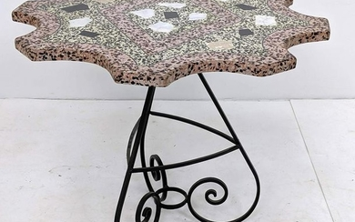 Terrazzo Marble Top Occasional Table. Shaped stone top