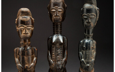 Three Baule Figures Ivory Coast, early 20th century Two...