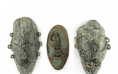 Three Studio Pottery Slab Masks