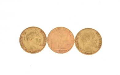 Three gold coins of 20 FF