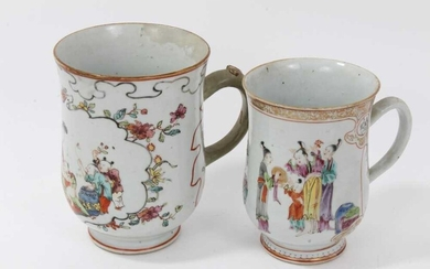 Two Chinese 18th/19th century famille rose porcelain tankards, painted...