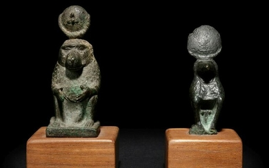 Two Egyptian Bronze Thoth Baboons Height of taller