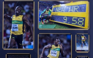 USAIN BOLT SIGNED PHOTOGRAPH mounted in a display with...