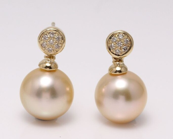 United Pearl - 14 kt. Yellow Gold- 10x11mm Golden South Sea Pearls - Earrings - 0.11 ct