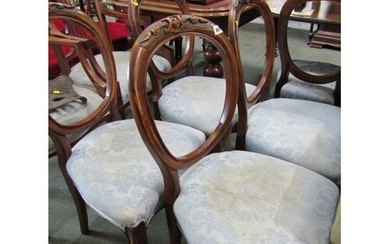 VICTORIAN HOOP BACK DINING CHAIRS, set of 5 carved walnut di...