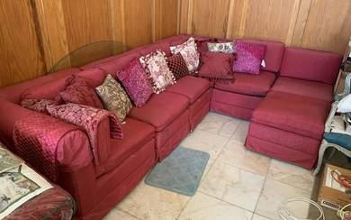 VINTAGE RED SATIN J SHAPED SECTIONAL COUCH SOFA