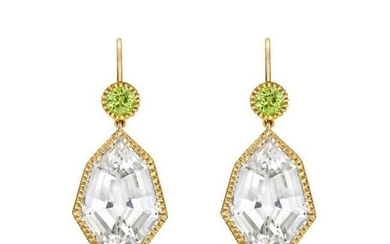 "Verdura White Topaz and Peridot ""Byzantine"" Drop"