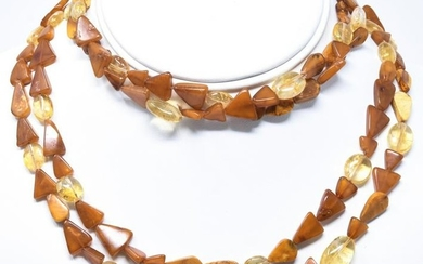 Vintage Amber & Citrine Bead Necklace