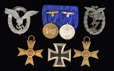 WWII GERMAN MEDAL & BADGE GROUP.