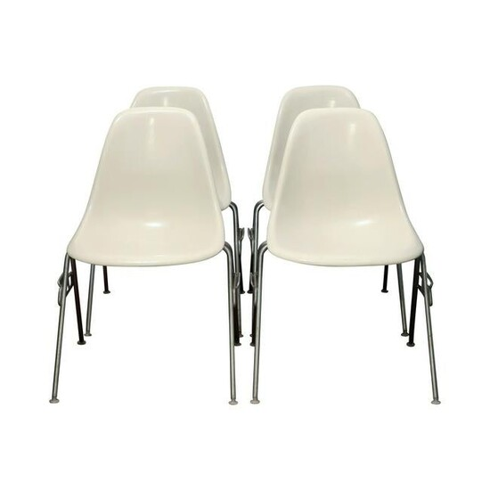 White Eames Stacking Chairs for Herman Miller - Set of
