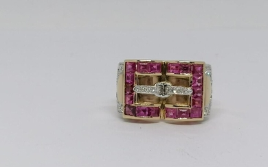White and Yellow gold and ruby ring
