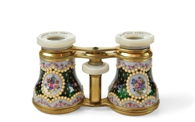 Pair of Enamel Opera Glasses - With mother of pearl eyepiece...