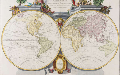 World.- Santini (Francois) and Jean Janvier. Mappe Monde ou Description du Globe Terrestre, [c. 1775].