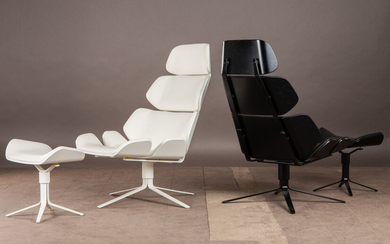 High back chair and ottoman, leather, metal