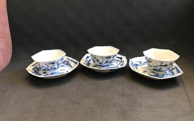 cups and saucers (3) - Blue and white - Porcelain - China - Kangxi (1662-1722)
