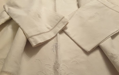 sheet with pillowcases (3) - raw linen - 1950/1970