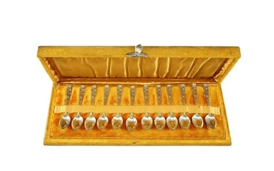 12 Sterling Silver Demitasse Spoon Set by Whiting