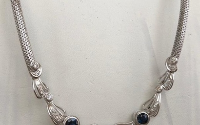 14 kt. White gold Necklace with pendant app. 2.40 ct