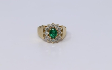 14Kt Diamond / Emerald Ring