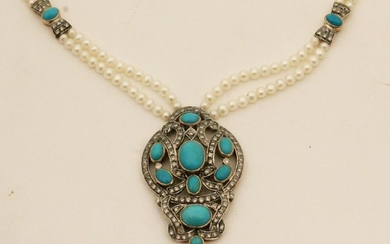 18K DIAMOND, TURQUOISE AND PEARL PENDANT NECKLACE