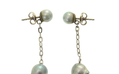 Pair of 18k White Gold Natural Pearl Earrings.