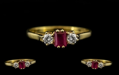 18ct Gold - Attractive Ladies 3 Stone Ruby and Diamond Set D...