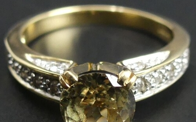 18ct gold citrine and diamond ring. Size 'N'. 7.3mm wide. 5 ...