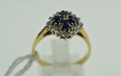 18ct gold, sapphire & diamond cluster ring, size T