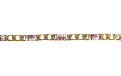 18kt yellow gold, diamond and ruby bracelet