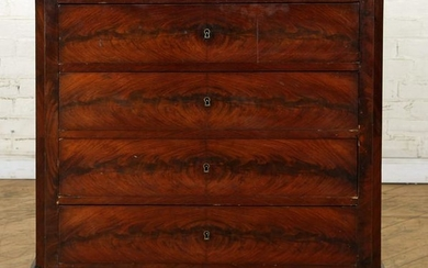 19TH C. FRENCH MAHOGANY MARBLE TOP COMMODE