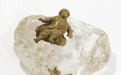 19th C. Russian Gilt Bronze Figure on Rock Crystal