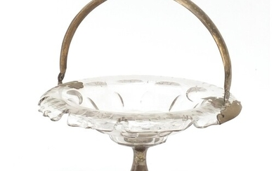 19th century French cut glass basket with silver swing handl...