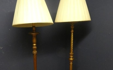 2 Large floor lamps with gold & gilt style stands 108H cm