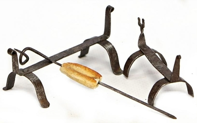 2 hand-forged firedogs, 7 and 5.5 cm, 1 rotary spit