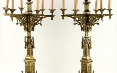 PAIR ELECTRIFIED GOTHIC STYLE BRONZE CANDLESTICKS