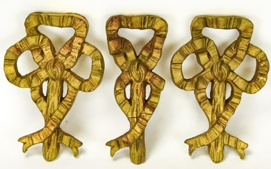 3 French Neoclassical Style Gilt Bow Wall Plaques